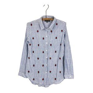 Alexander Jordan Ladybug Button Up Top Stripe Blue